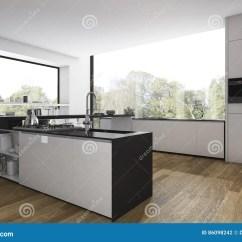 Flooring Kitchen Art Work 3d翻译木地板厨房和最小的餐厅有看法从窗口库存例证 插画包括有设备 布 3d翻译木地板厨房和最小的餐厅有看法从窗口