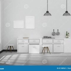 Modern Kitchen Light Rooster Canister Sets 3d翻译 白色内部现代厨房室设计的例证与两葡萄酒灯垂悬的发光的灰色地板 白色内部现代厨房室设计的例证与两葡萄酒灯垂悬的发光的灰色地板晒黑轻发光从屋子之外设计您的家庭概念