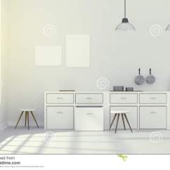 Modern Kitchen Light Canisters 3d翻译 白色内部现代厨房室设计的例证与两葡萄酒灯垂悬的发光的灰色地板 白色内部现代厨房室设计的例证与两葡萄酒灯垂
