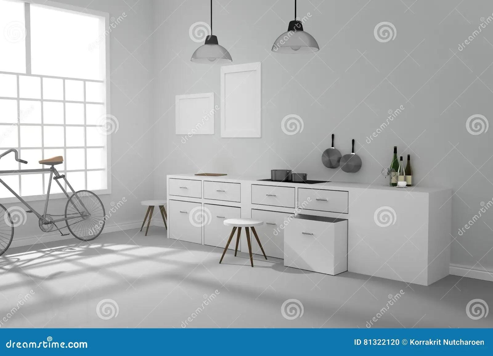 modern kitchen lights dornbracht faucet 3d翻译 白色内部现代厨房室设计的例证与两葡萄酒灯垂悬的发光的灰色地板 白色内部现代厨房室设计的例证与两葡萄酒灯垂