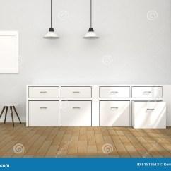 Modern Kitchen Lights Stand Alone Cabinets 3d翻译 白色内部现代厨房室设计的例证与两葡萄酒灯垂悬的木的楼层轻的 白色内部现代厨房室设计的例证与两葡萄酒灯垂悬的木的楼层晒黑轻发光从屋子之外设计您的家庭概念