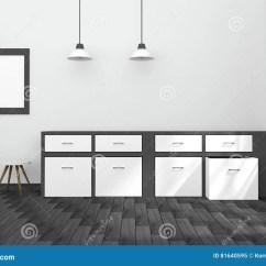 Modern Kitchen Light Leather Chairs 3d翻译 黑白内部现代厨房室设计的例证与两葡萄酒灯垂悬的木的楼层库存 黑白内部现代厨房室设计的例证与两葡萄酒灯垂