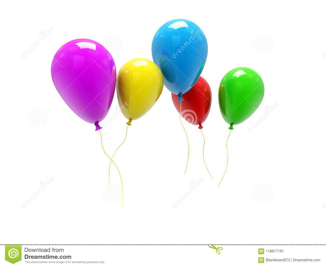3d balloons bunch on