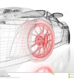 car vehicle 3d blueprint mesh model with a red wheel tire on a white background 3d rendered image [ 1300 x 1065 Pixel ]