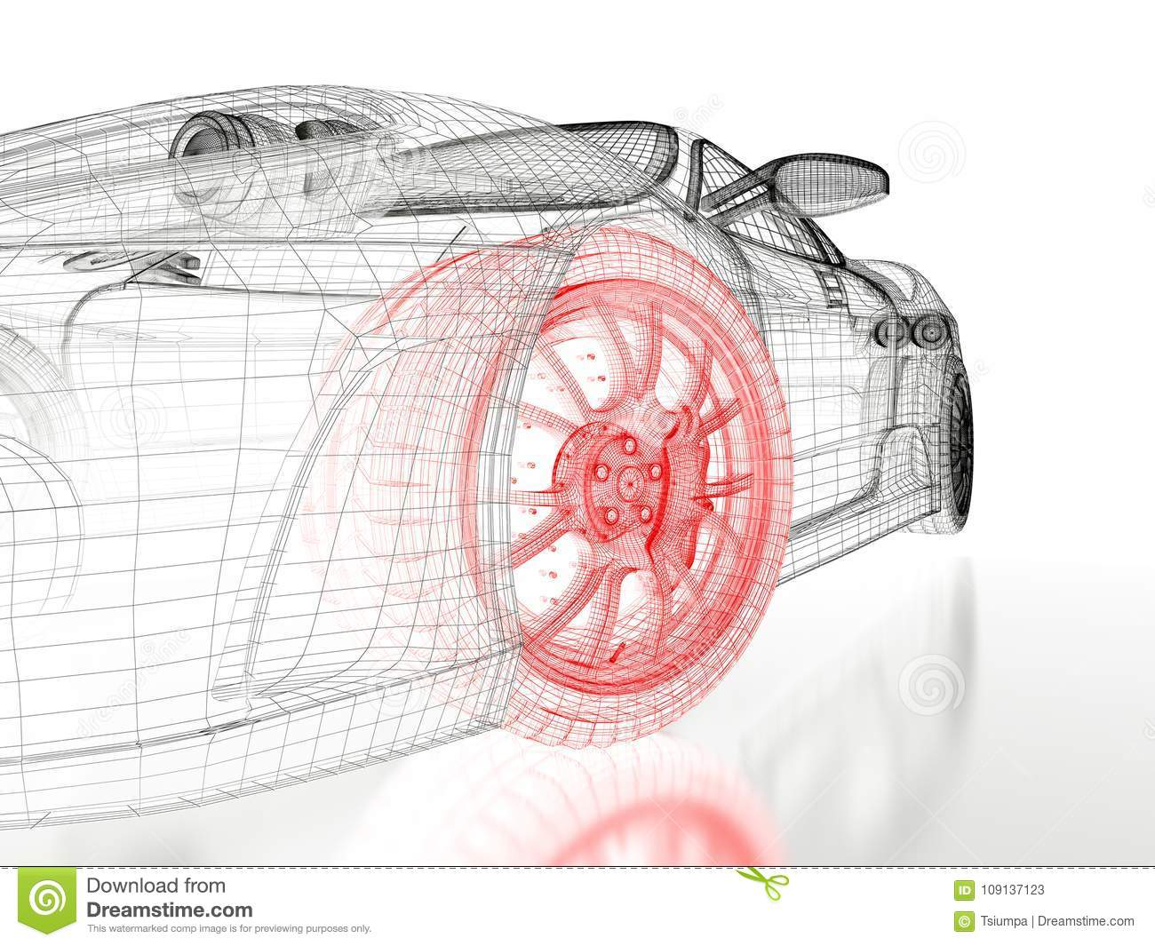 hight resolution of car vehicle 3d blueprint mesh model with a red wheel tire on a white background 3d rendered image