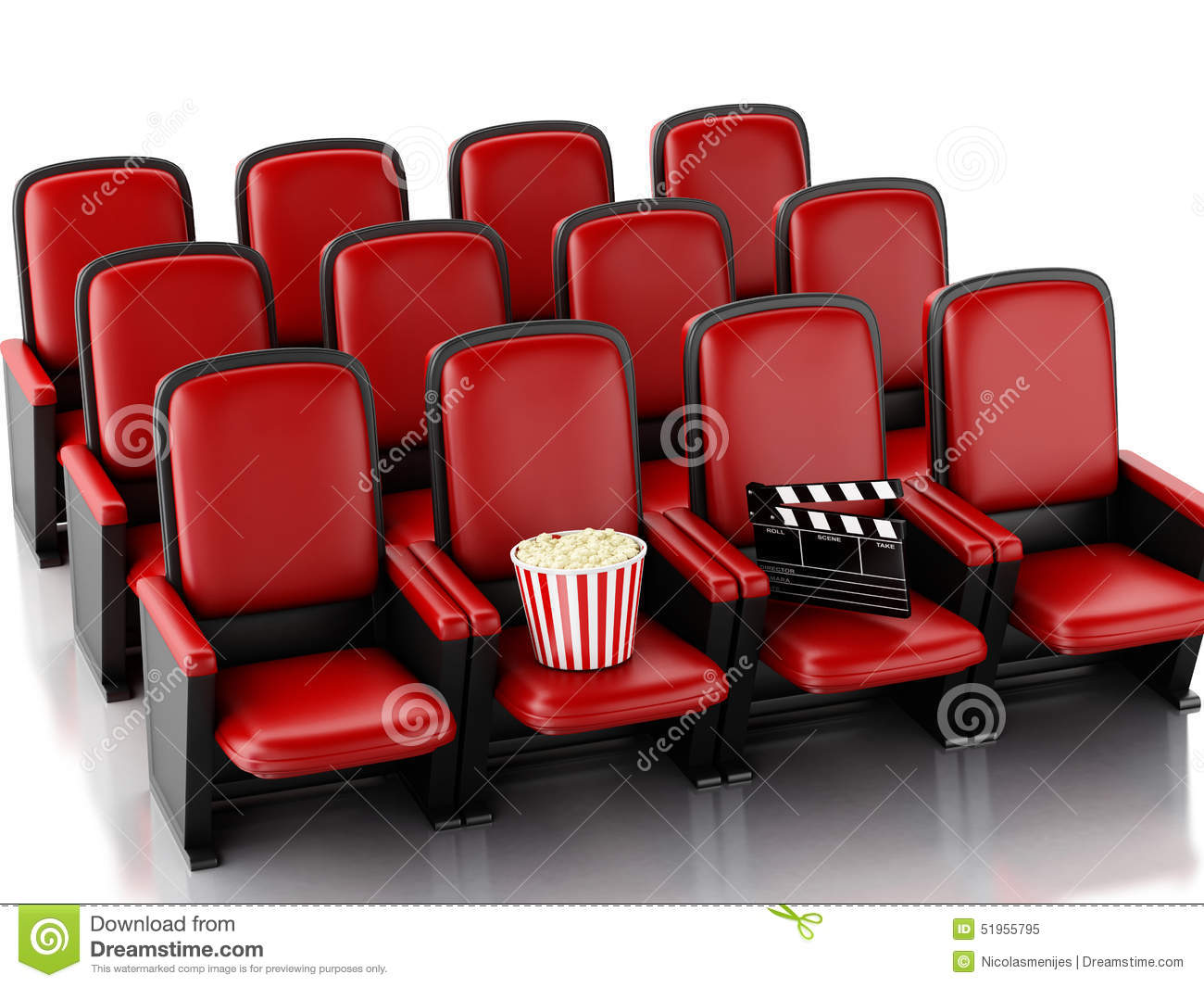 3d Cinema Clapper Board And Popcorn On Theater Seat Stock