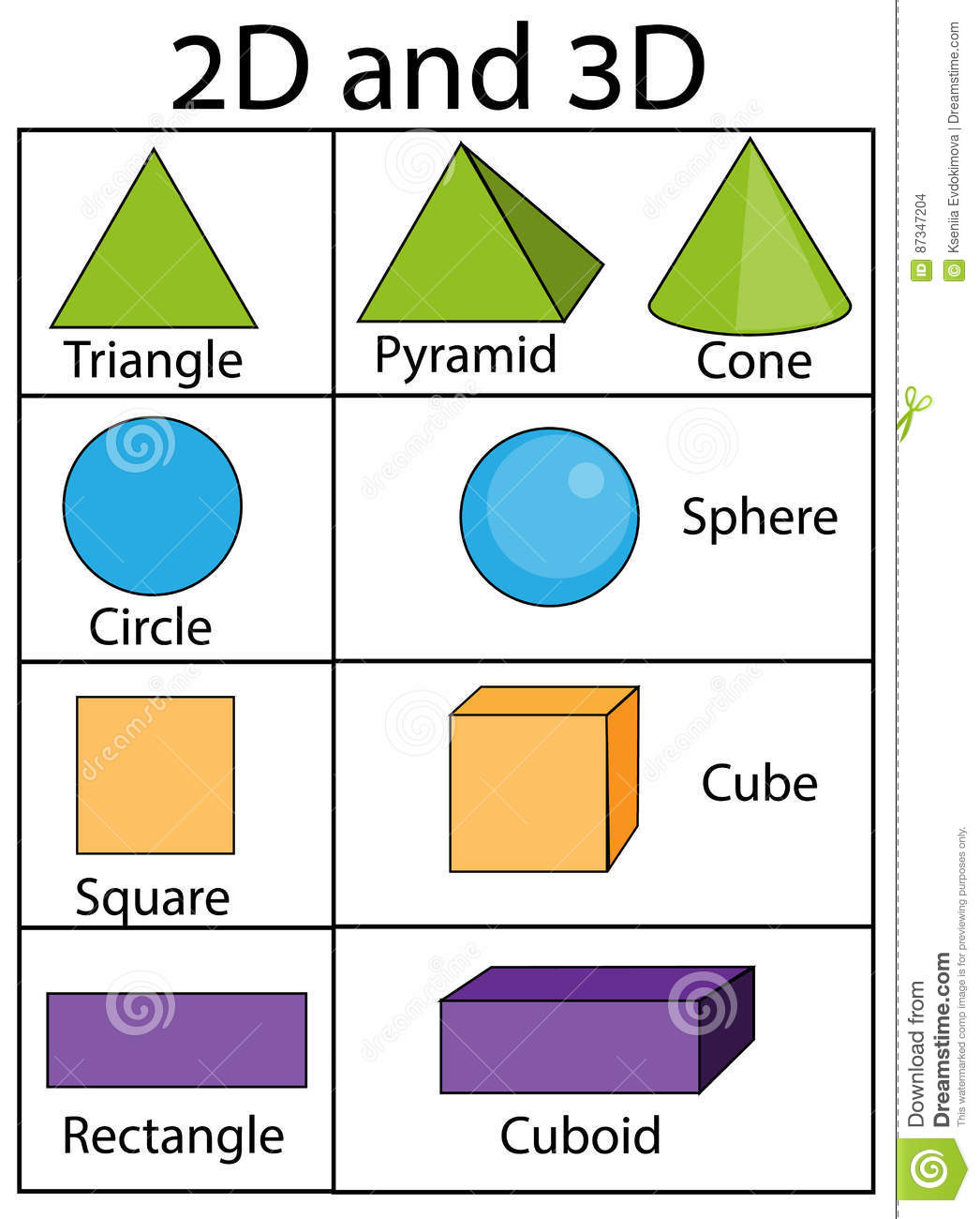 2d And 3d Geometric Shapes And Figures Educational