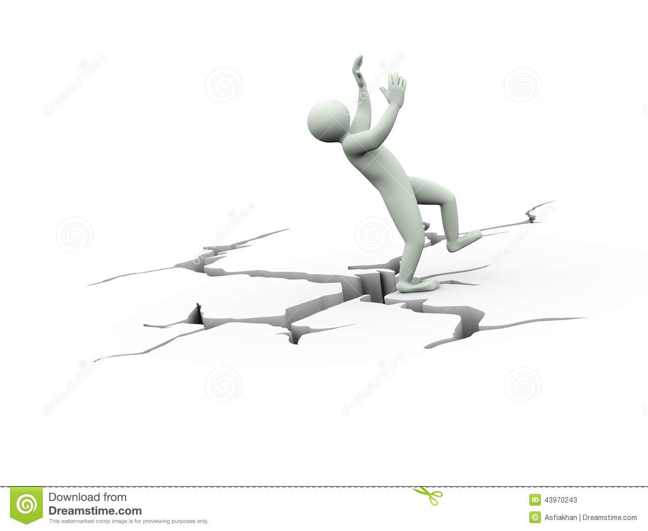 3d Disbalance Man On Cracked Ground Stock Illustration