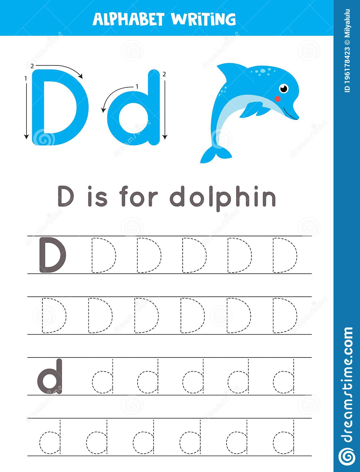 D Is For Dolphin Tracing English Alphabet Worksheet