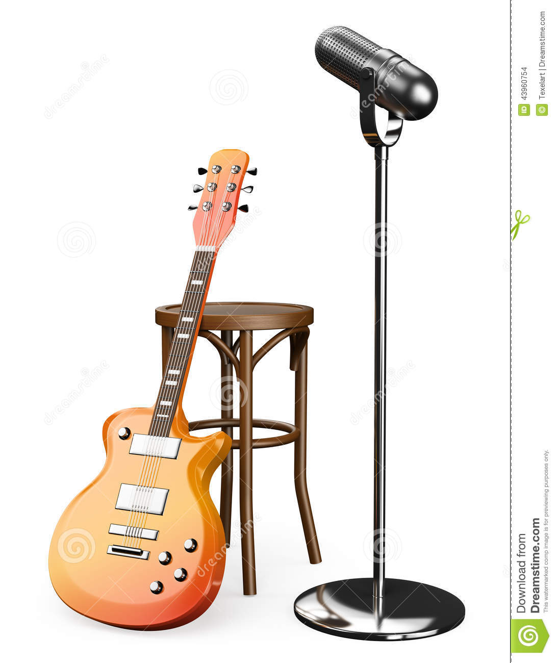 classical guitar chair director covers diy 3d electric stool and microphone stock illustration