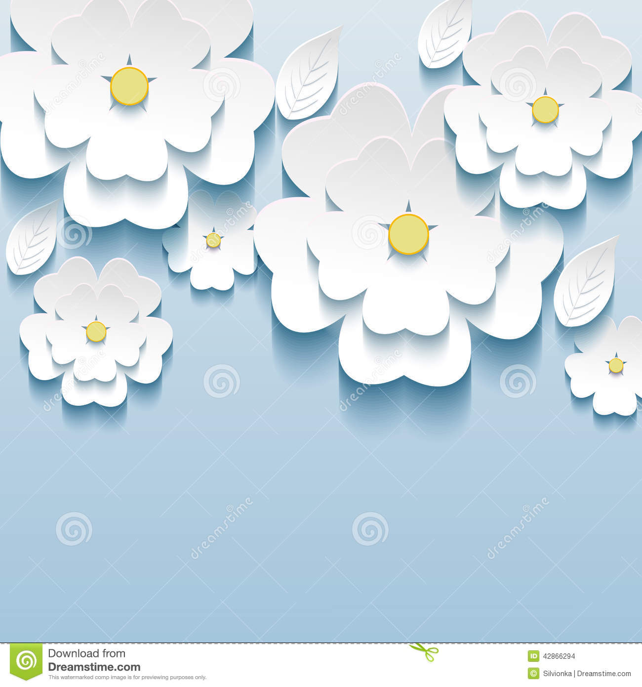 3d Flowers Sakura White Trendy Beautiful Wallpape Stock