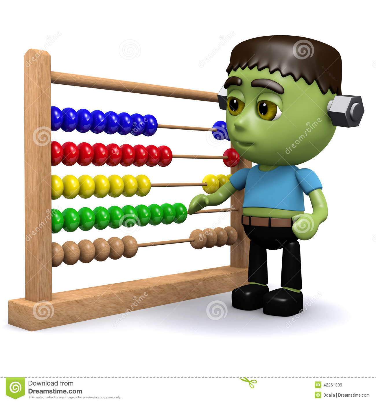 3d Frankenstein With Abacus Stock Illustration