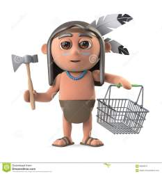 funny boy cartoon indian american native shopping basket goes 3d axe render holding war preview