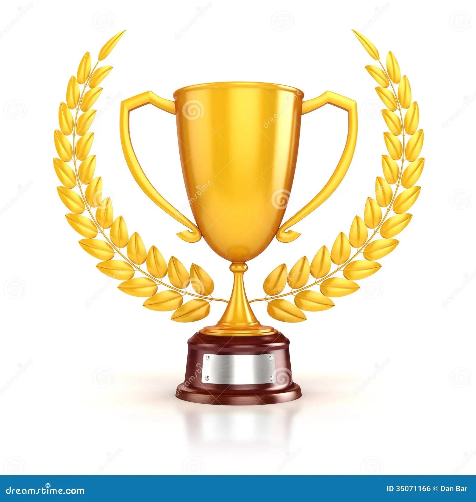 3d Golden Trophy And Laurel Stock Illustration