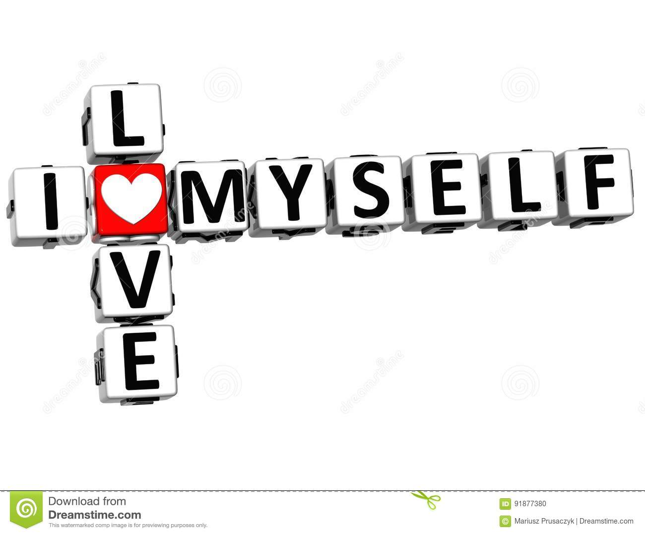 3d I Love Myself Crossword Block Text Stock Illustration