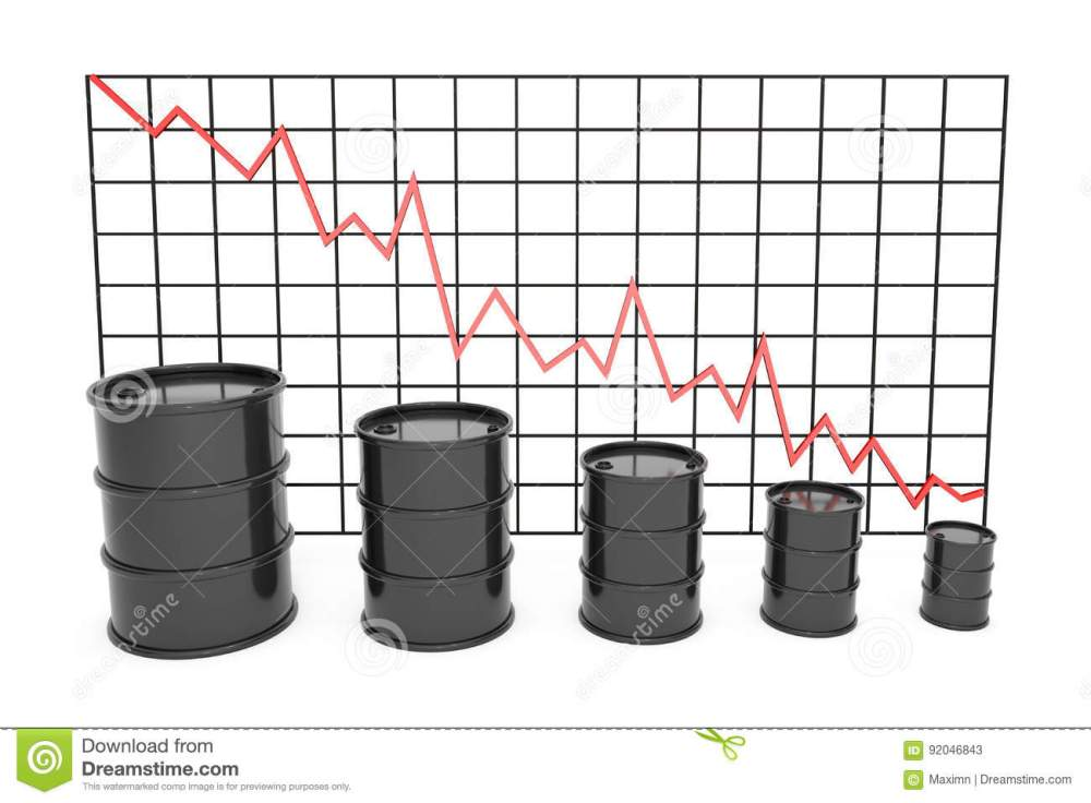 medium resolution of 3d illustration black barrels of oil graph chart stock market with red line arrow on