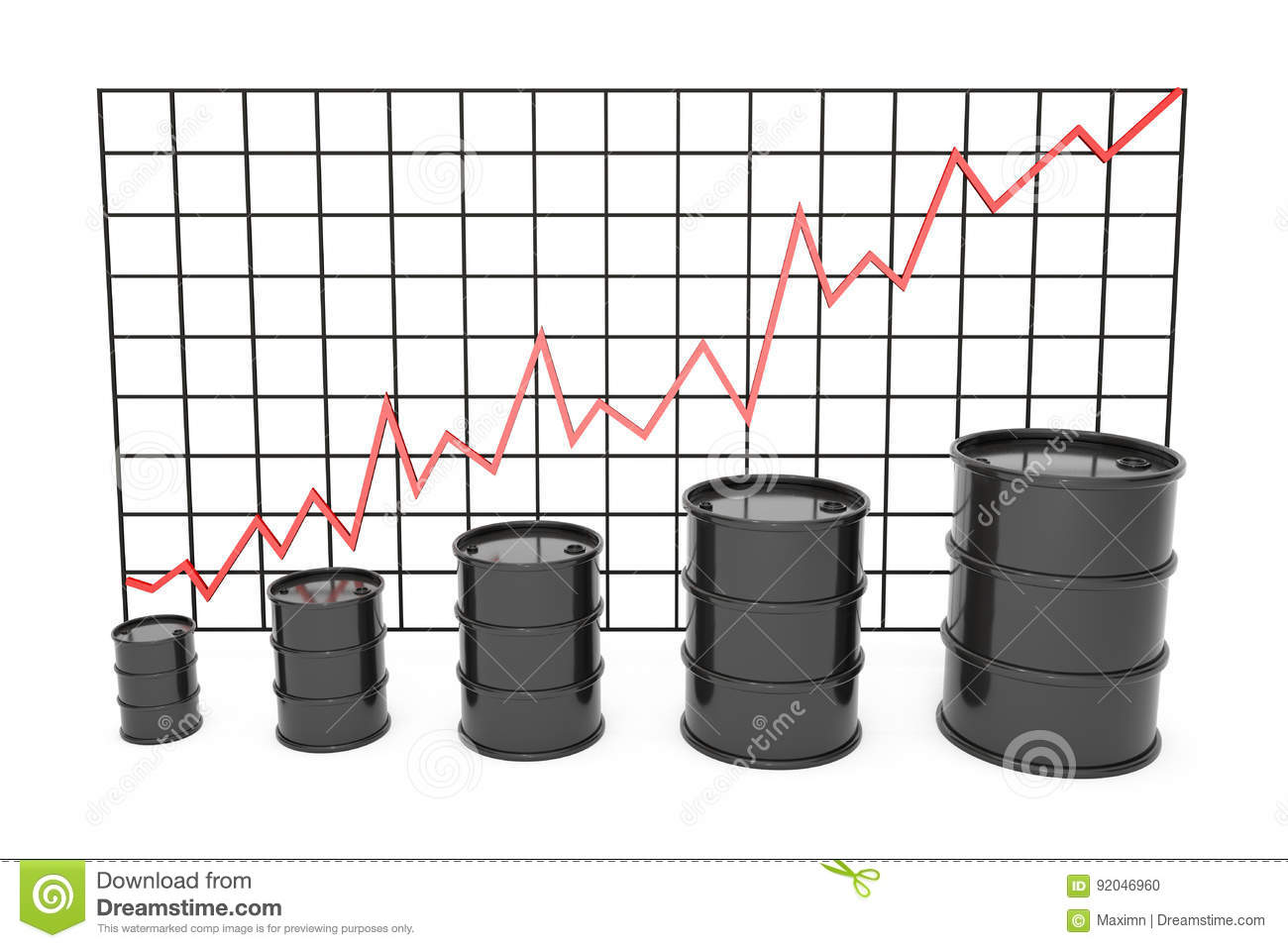 hight resolution of 3d illustration black barrels of oil graph chart stock market with red line arrow on
