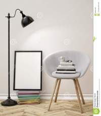 3D Illustration Of Blank Poster On The Wall Of Living Room ...