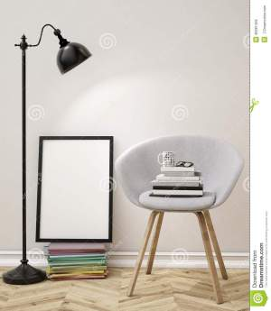 wall blank poster living background template mock illustration interior office 3d armchair books education frame lamp space illuminated perfectly banner