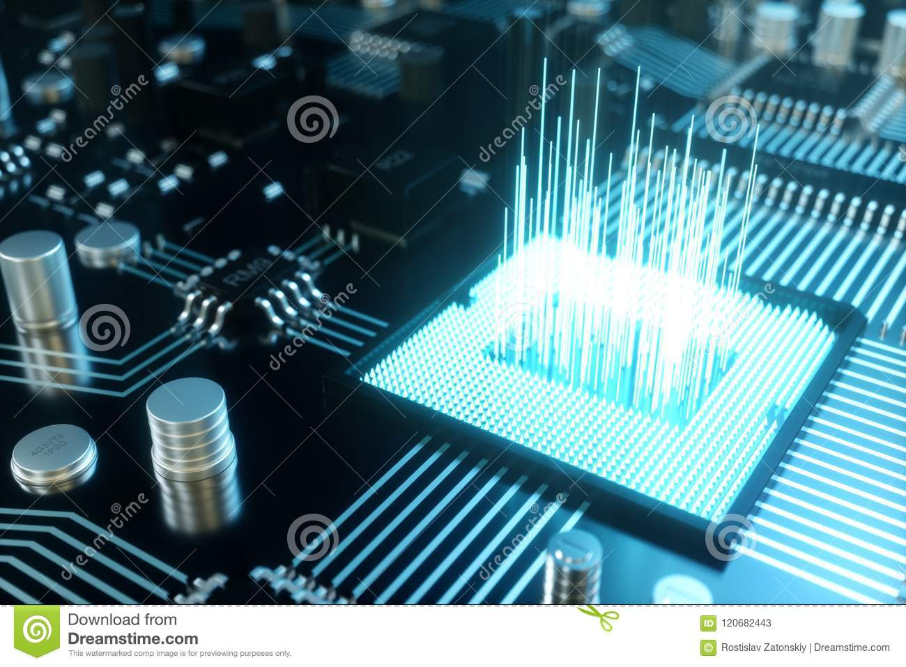 hight resolution of 3d illustration computer chip a processor on a printed circuit board the concept of