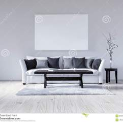 White Fluffy Sofa Cushions Leather Flexsteel 3d Illustration Empty Interior With Wall
