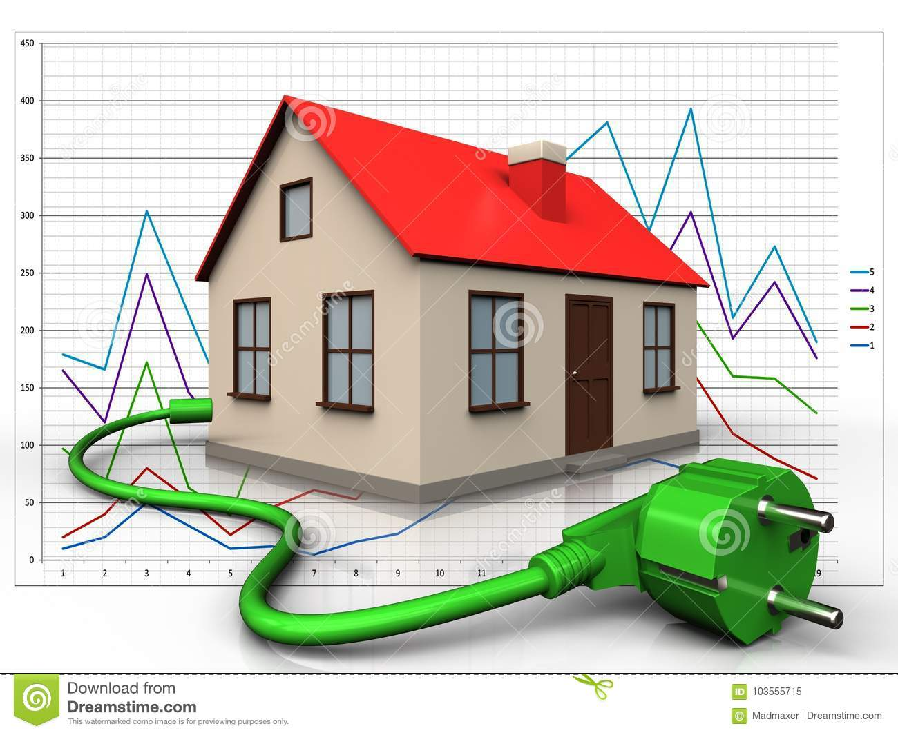hight resolution of 3d illustration of house with power cord over diagram background