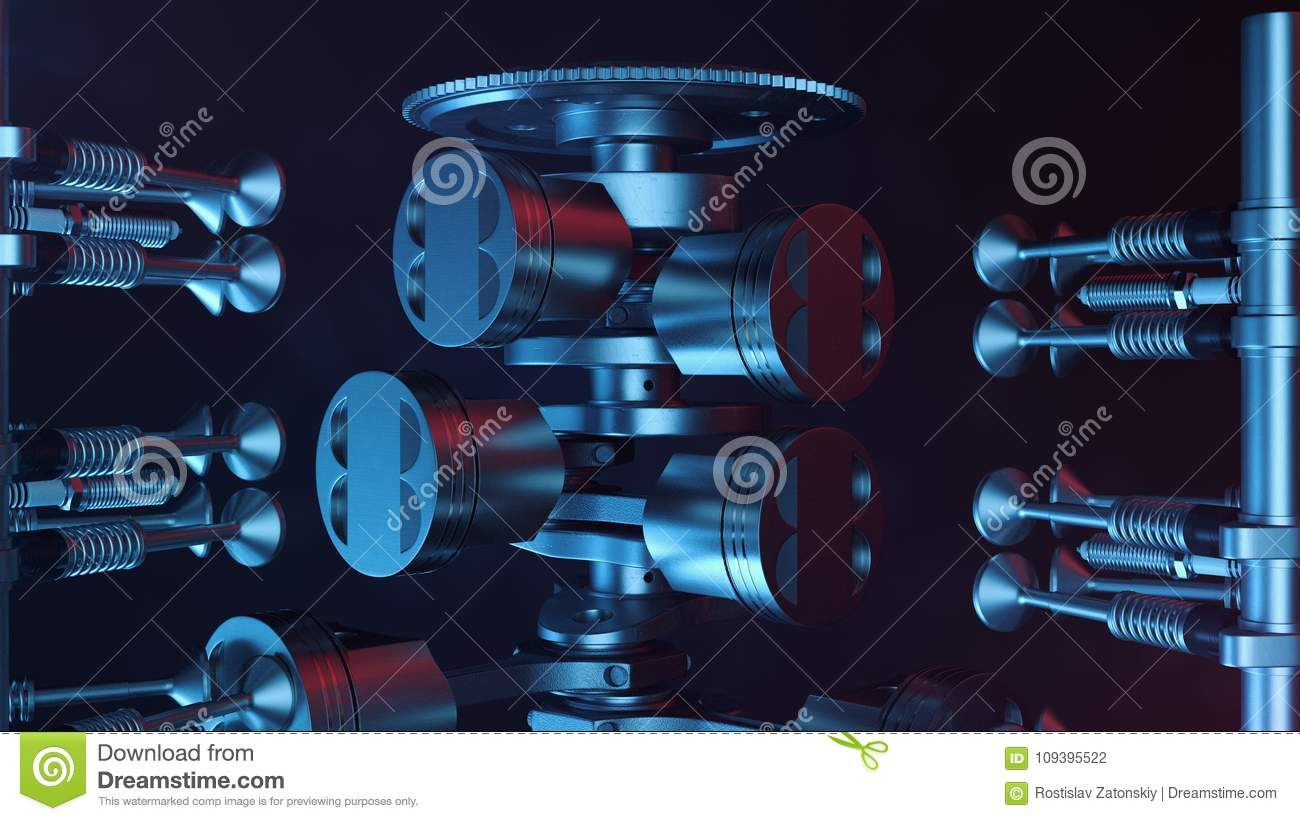 hight resolution of 3d illustration of an internal combustion engine engine parts crankshaft pistons fuel
