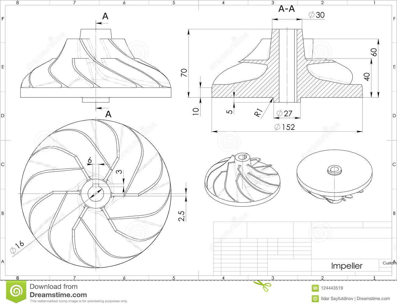 3d Illustration Of Turbo Impeller Stock Illustration