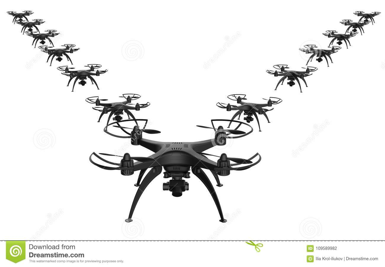 3d Illustration Of A Wedge Of Drones On A White Background