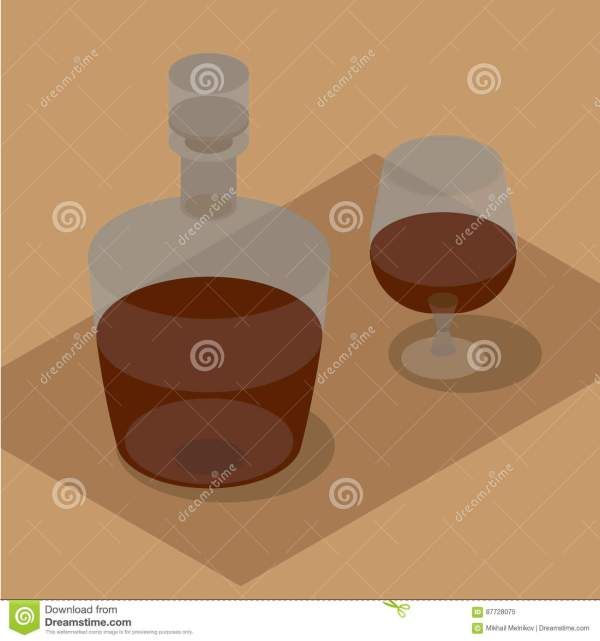 3d isometric bottle and wineglass