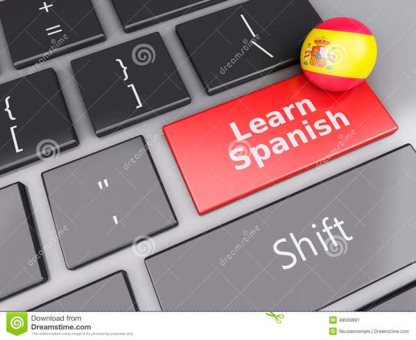 3d Learn Spanish. Education Concept. Royalty-free Cartoon