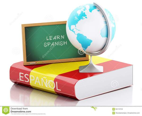 3d Learn Spanish. Education Concept. Stock Illustration