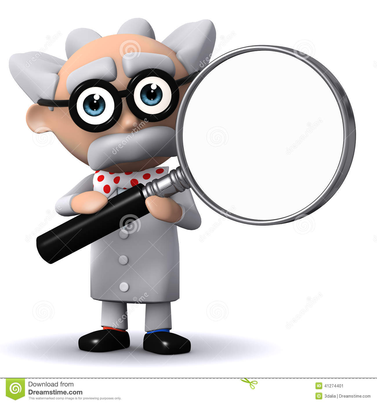 3d Mad Scientist Holds A Magnifying Glass Stock