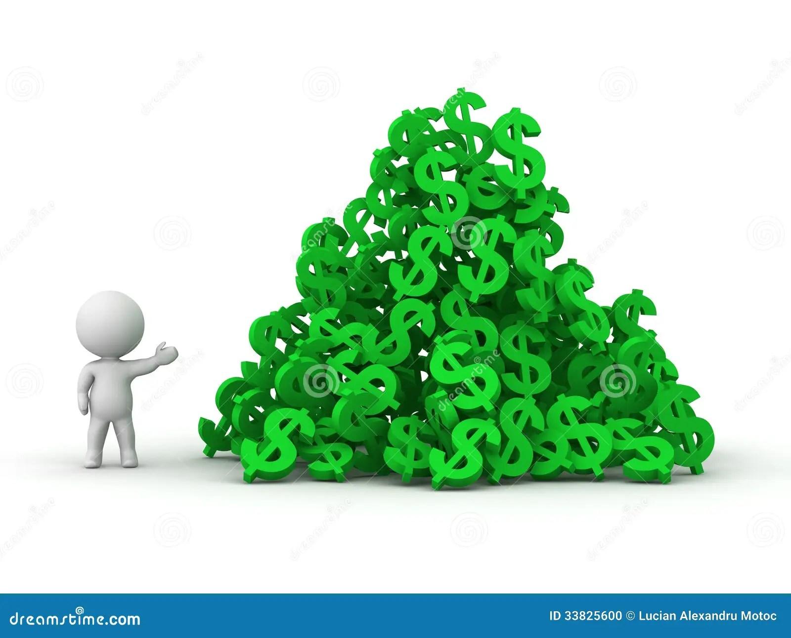 3D Man Climbing Huge Pile Of Dollar Symbols Stock Photo