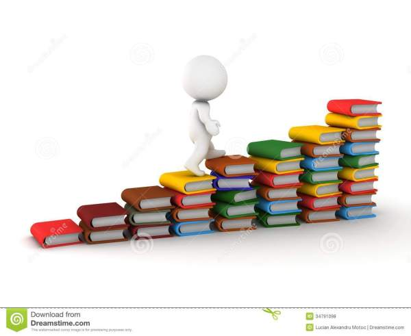 3d Man Climbing Stairs Of Books Stock Illustration