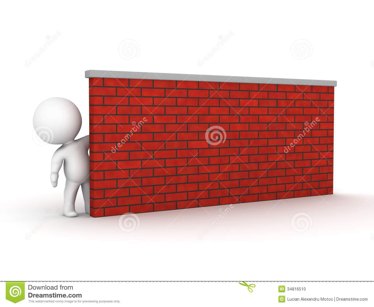 3D Man Leaning Looking From Behind A Brick Wall Stock