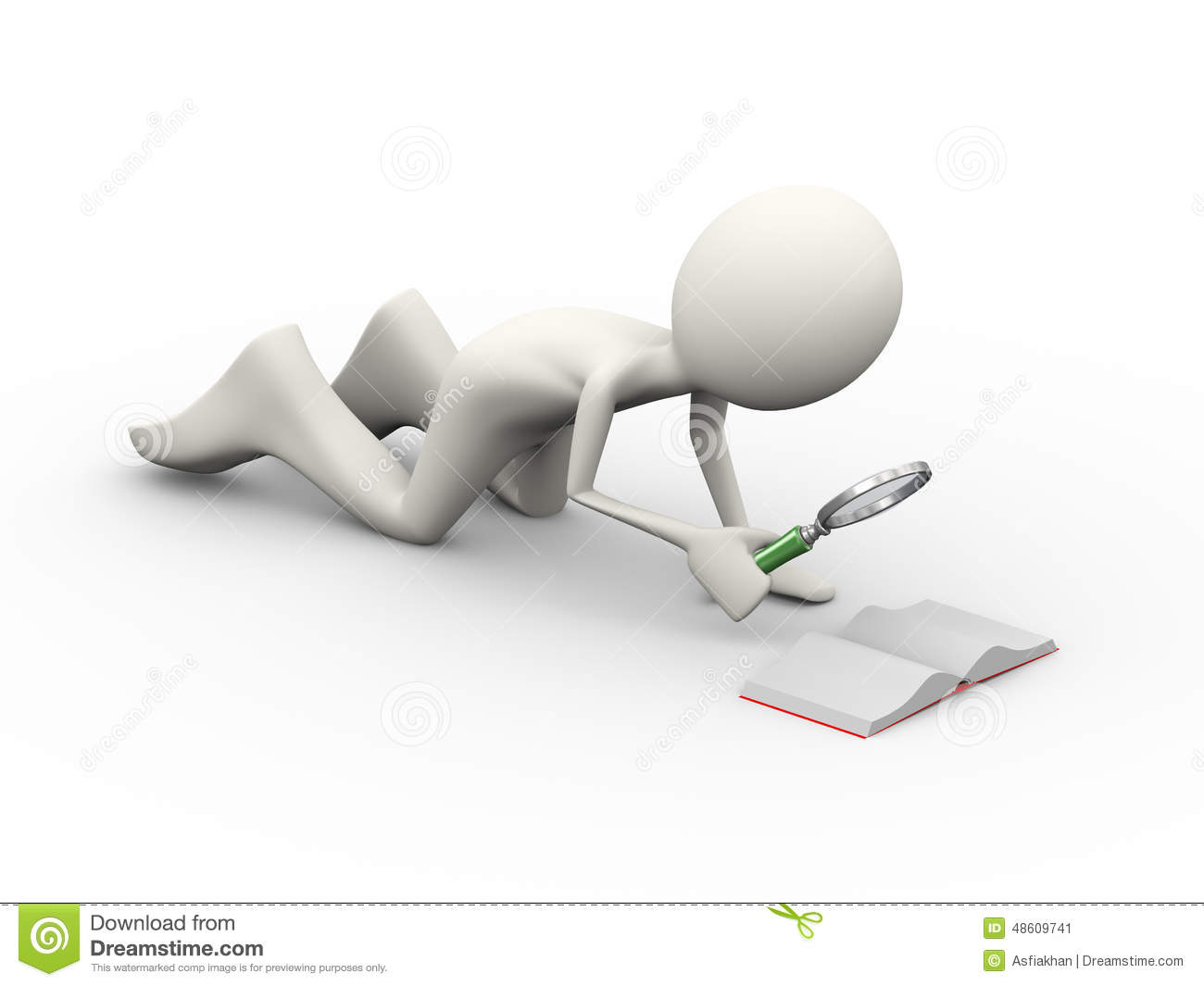 3d Man With Looking At Small Book Stock Illustration