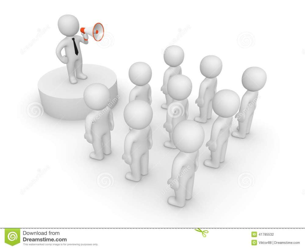 medium resolution of 3d man with loudspeaker talking to crowd illustration 41785532 megapixl