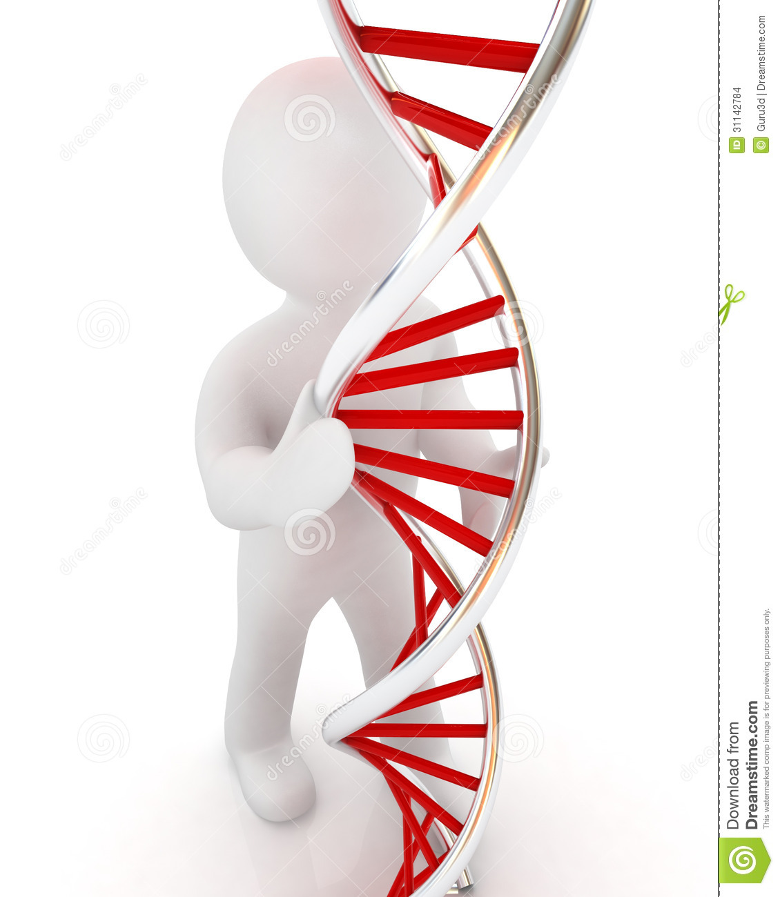 3d Men With Dna Structure Model Stock Images