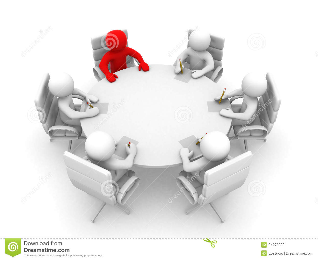 3d Men Sitting At A Round Table And Having Business