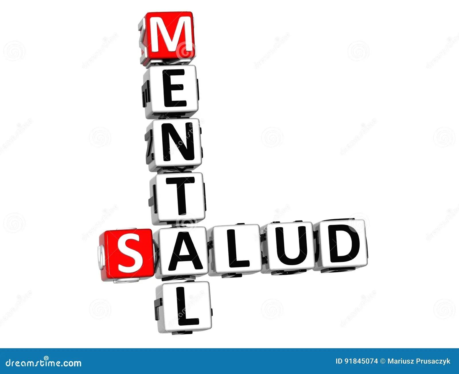 3D Mental Health Mental Salud Crossword On White