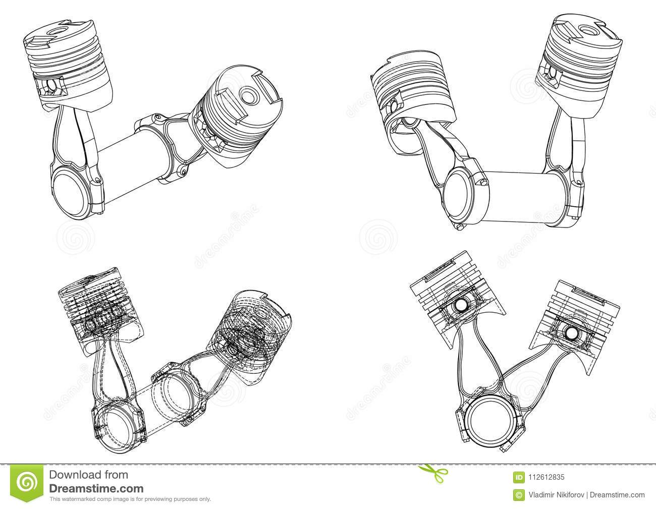 3d model of piston stock vector. Illustration of element