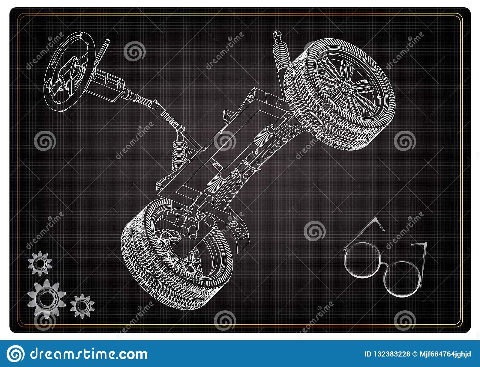hight resolution of 3d model of steering column and car suspension on black