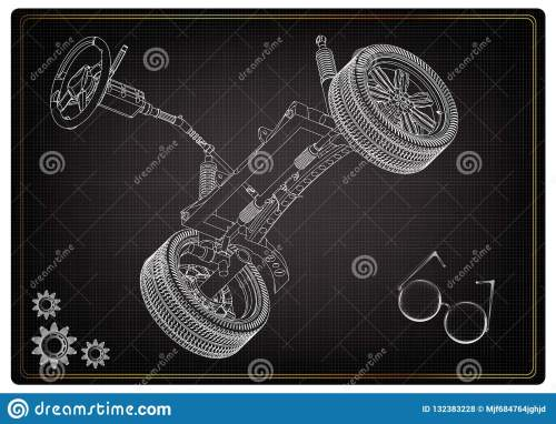 small resolution of 3d model of steering column and car suspension on black