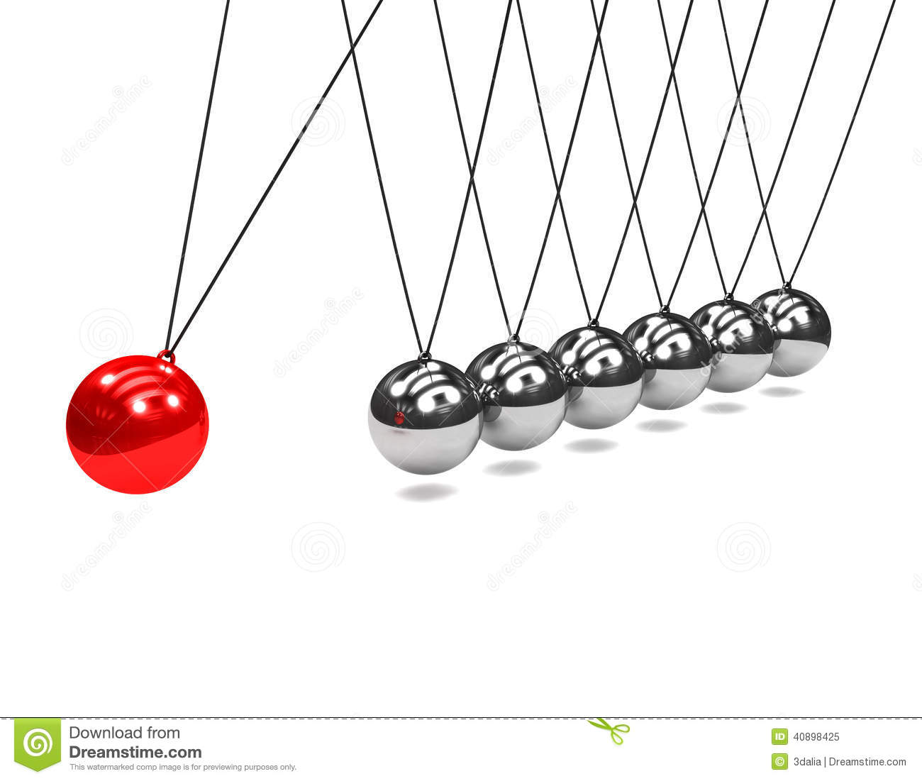 3d Newtons Cradle With Red Ball Stock Illustration