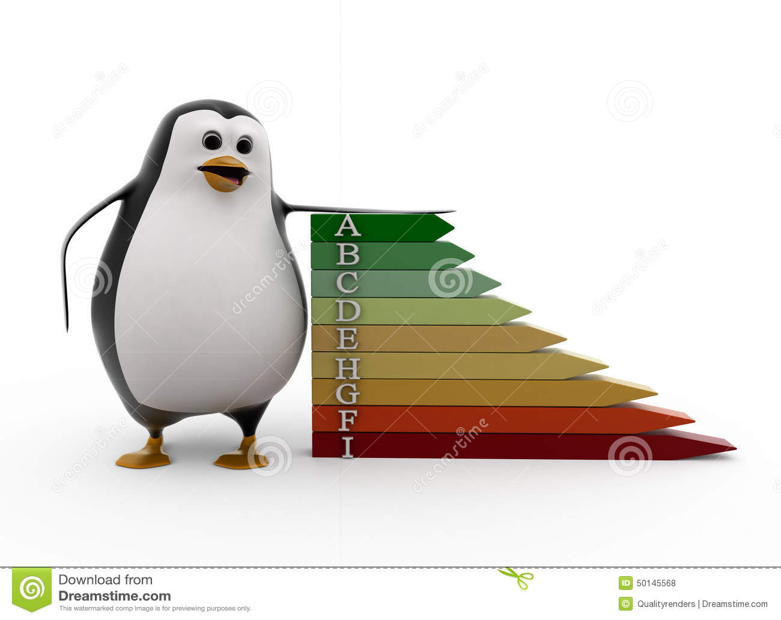 3d Penguin With Alphabet Concept Stock Illustration