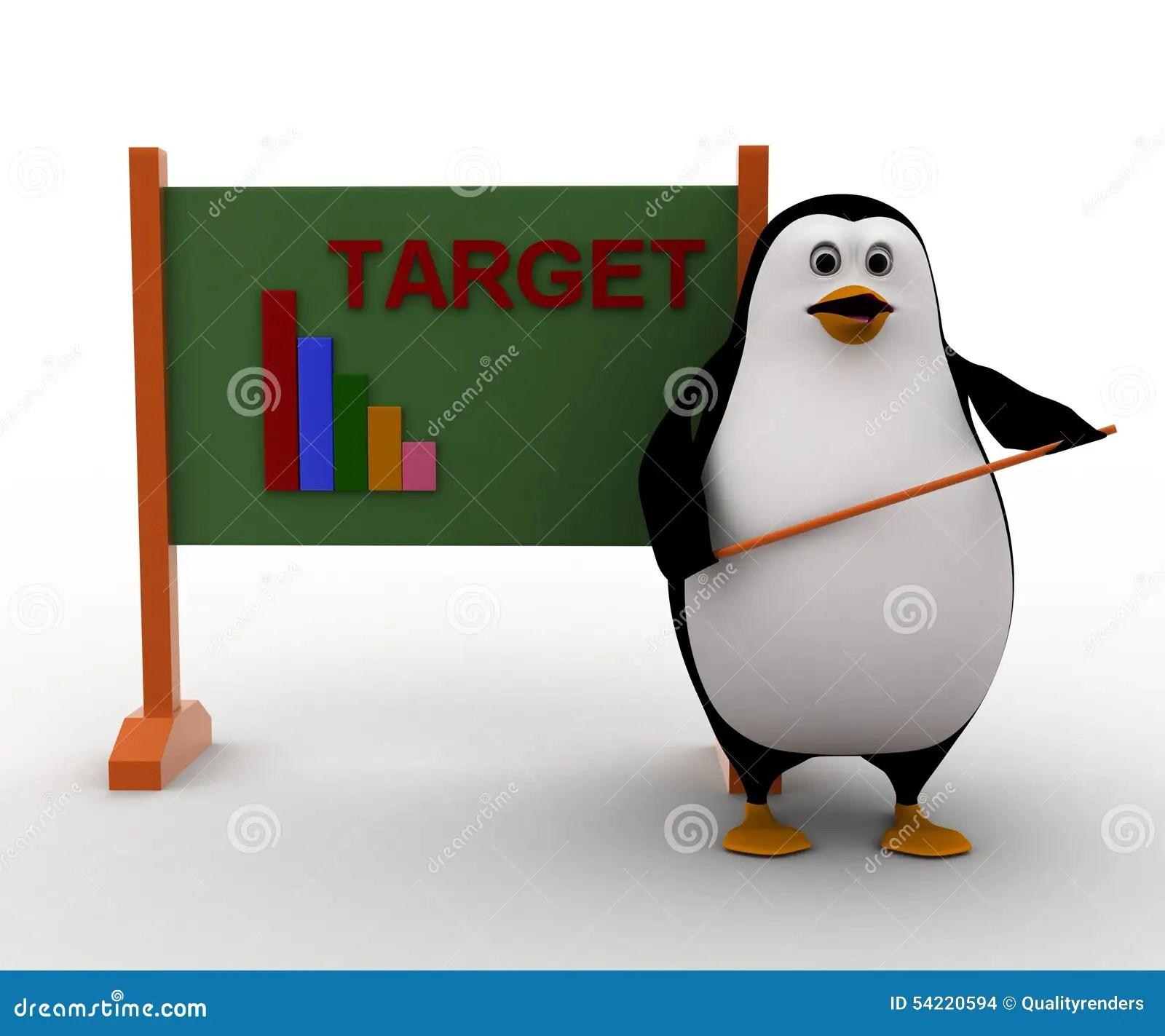 3d Penguin Teacher With Stick And Target Graph Written On