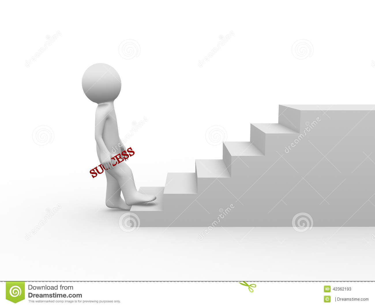 3d People Character Walking Up On Stairs 3d Render Stock