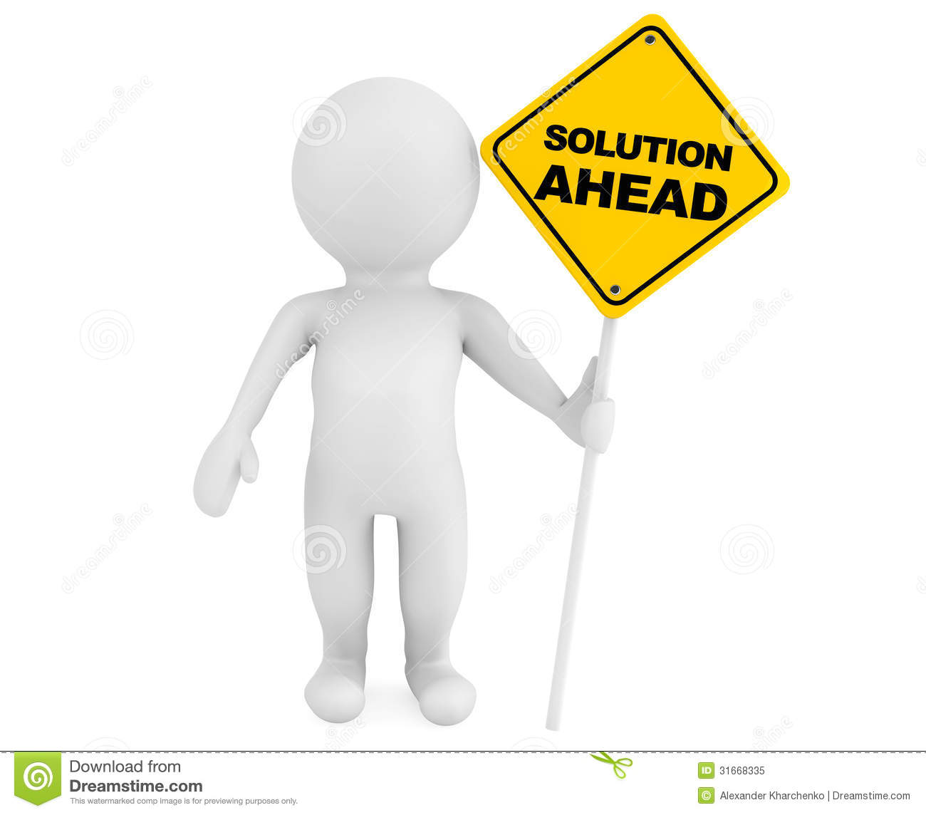 3d Person With Solution Ahead Traffic Sign Royalty Free