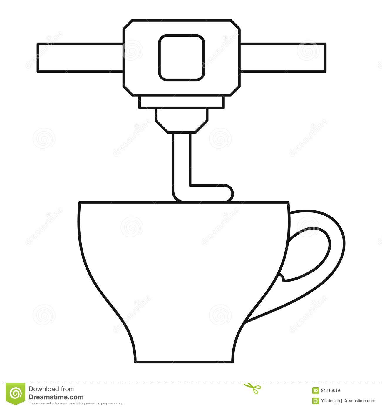3d Printer Printing Cup Icon Outline Style Stock Vector
